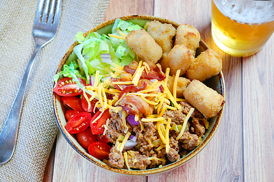 Bacon Tot Burger Bowl- PNG