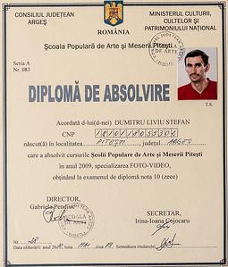 Diploma de absolvire - Scoala de Arte Pitesti