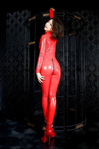 PVC red catsuits  エナメル 赤 キャットスーツ