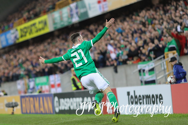 N.Ireland celebrate in front of the home crowd at Windsor Park