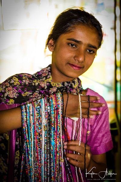 Our first gift purchase was a set of necklaces from this girl who sold them roadside in New Delhi.  When she was very young, her parents had her beg for alms, but she now takes pride in selling jewelry for a fair price.
