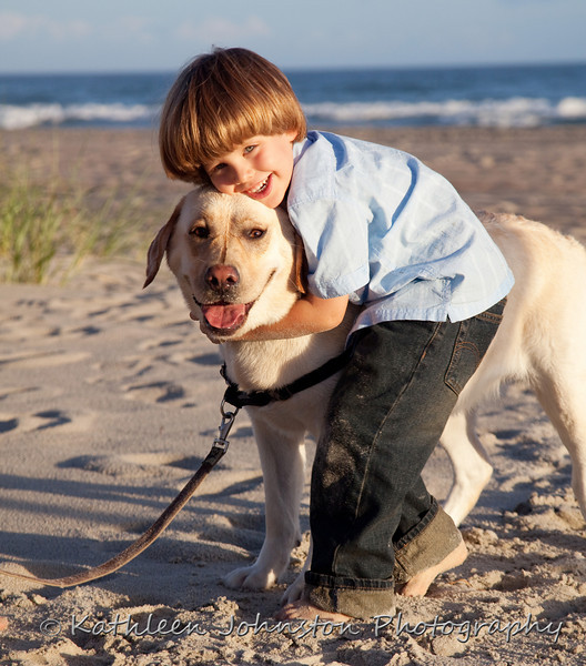 Boy and his dog, Emerald Isle, NC beach photo