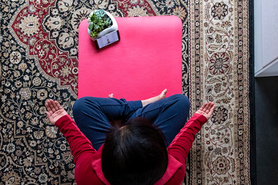 Yoga at Home via Online Instructor on an App