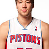 Oct 1, 2012; Auburn Hills, MI, USA; Detroit Pistons center Viacheslav Kravtsov (55) during media day at the Pistons Practice Facility. Mandatory Credit: Tim Fuller-US PRESSWIRE
