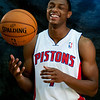 Oct 1, 2012; Auburn Hills, MI, USA; Detroit Pistons guard Brandon Knight (7) during media day at the Pistons Practice Facility. Mandatory Credit: Tim Fuller-US PRESSWIRE