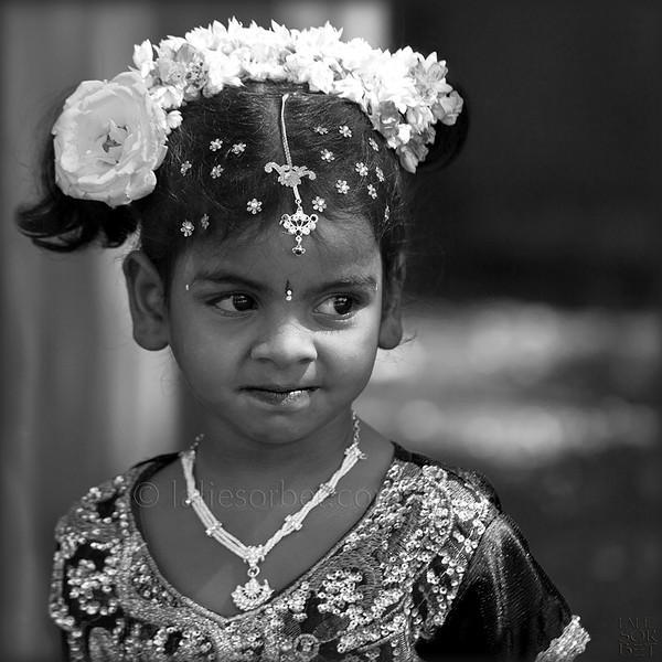 Coquette little girl at the indian festival of Pongal, celebrated in Tamil Nadu at the end of the harvest season.<br /> Petite fille coquette lors du festival indian de Pongal, célébré dans le Tamil Nadu lors de la fin des récolte.