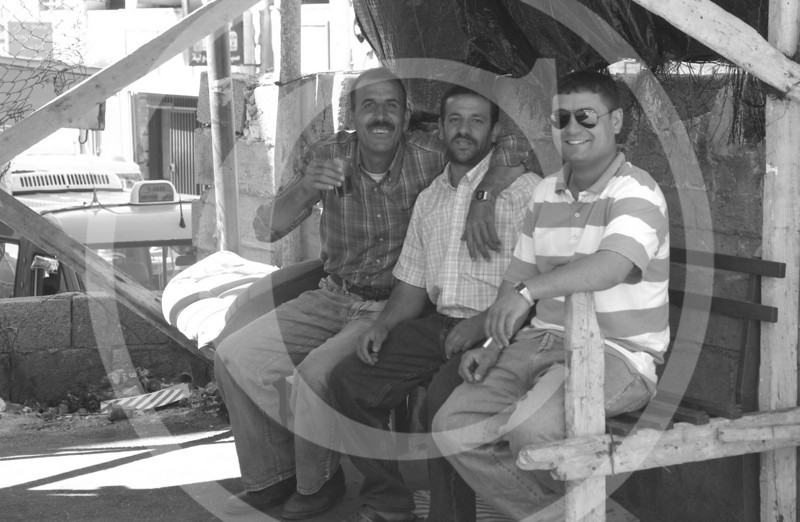 Taxi drivers in Ramallah take a break.