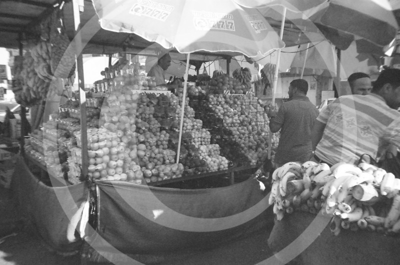 A fruit stand in Ramallah market.
