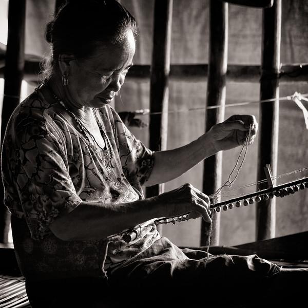 Rungas Woman Beading, Borneo