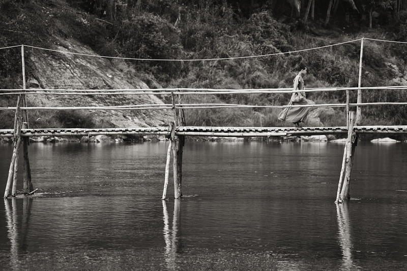 Monk Crossing Bridge, Laos