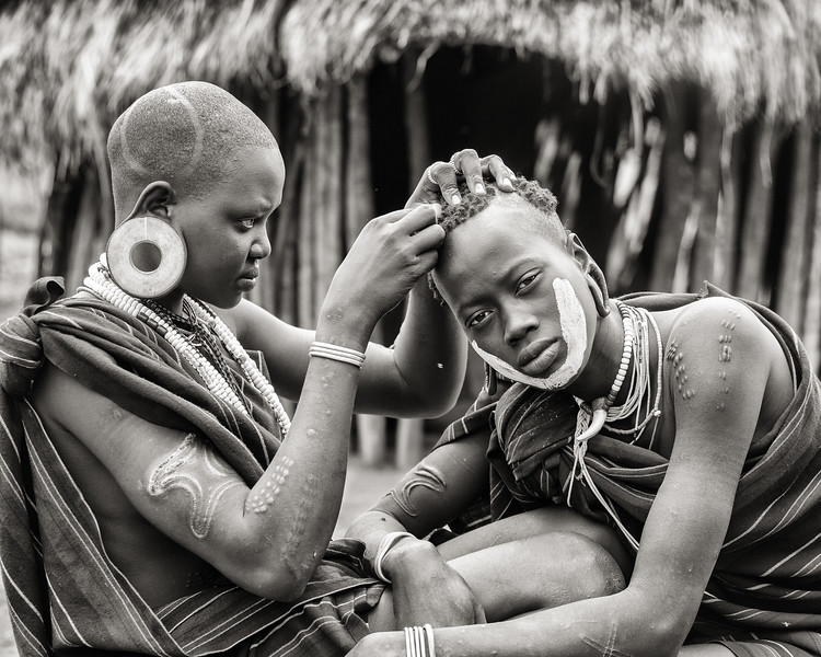 Mursi Head Shaving, Ethiopia