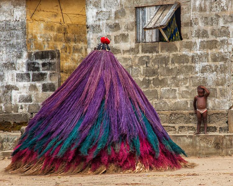 Little Boy at Zanbeto Mask Ceremony, Benin