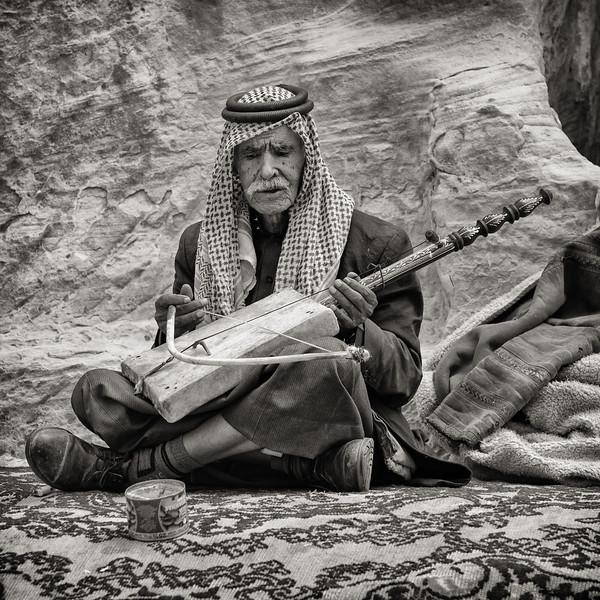 Bedouin Man Playing the Rababeh, Jordan