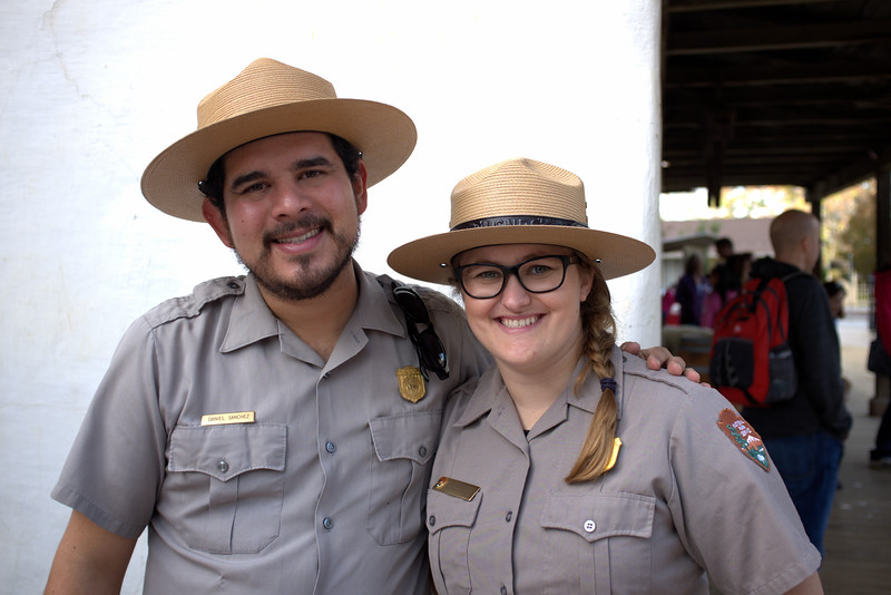 National Park Service Rangers on hand at San Jose's birthday celebration, to teach about the historic Anza Expedition (1775). Peralta Adobe, San Jose, California