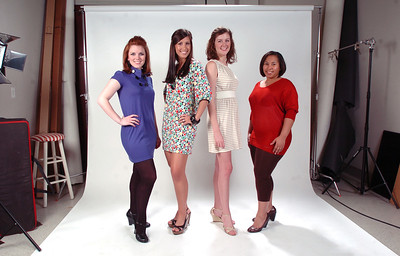 Models (from left) Ashley Landcaster, Erin Farris, Meg Pace and Angela Hartfield show off the new trend in mini skirts.