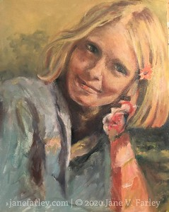 Mom at Washington Square Park (first oil painting)