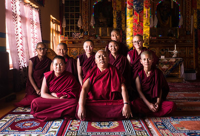 Dr Tsering Plamo poses for a picture along with the young nuns.