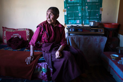 Lobzang Dolma, 85, is the eldest amongst all the nuns in Chattnyanling nunnery, Nyerma village. Earlier, she worked in the fields and on the roadside to sustain her livelihood.