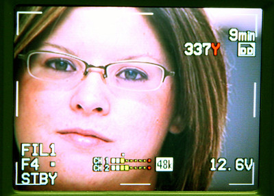 Kate Pleasant is seen through the LCD monitor of a WEIU broadcast camera while working for 'I Sing the Body Electric' at Sarah Bush LIncoln Health Center in Mattoon, Illinois on April 17, 2009. (Jay Grabiec)