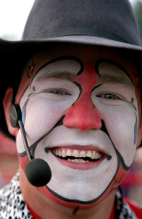 Rodeo clown Dusty Myers from Corinth, MS, before the start of the National Federation of Professional Bullriders competition at the Coles County Fair ground in Charleston, Illinois on Saturday, Augus 1, 2009.  (Jay Grabiec)