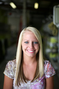 Kayla Foor, a Neoga High School senior, poses for a portrait at the Neoga Fire Station on Thursday, April 16, 2009. (Jay Grabiec