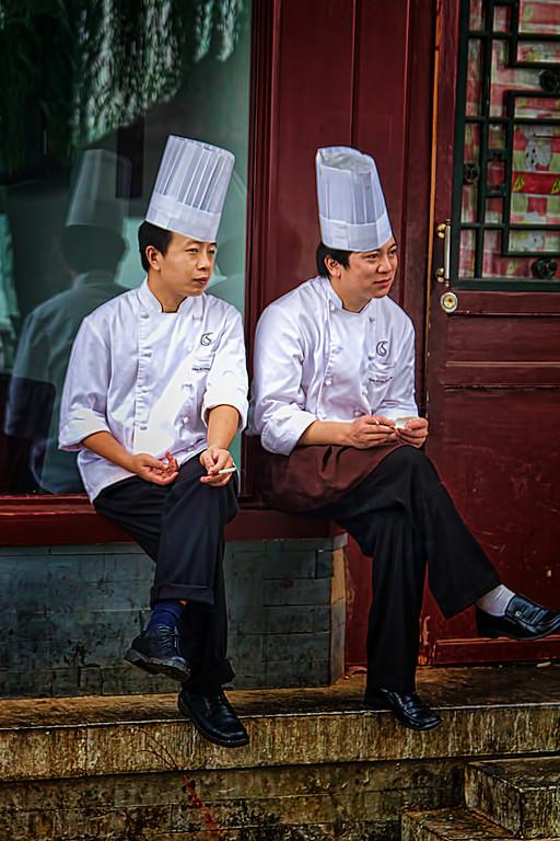 Two chef's in Beijing take an evening break