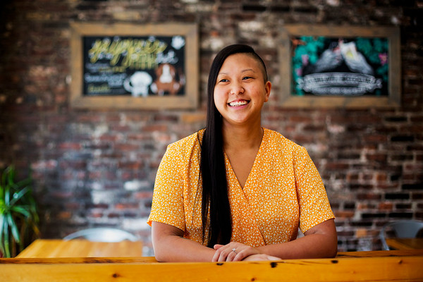 Irene Li poses for a portrait in Mei Mei Street Kitchen & Restaurant in Boston, Massachusetts on August 29, 2017. Photo by Adam Glanzman
