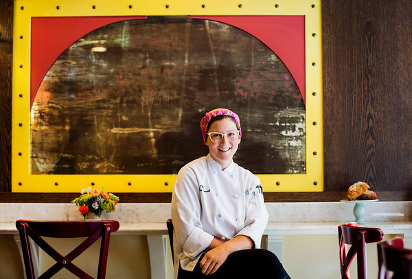 Melissa Denmark poses for a portrait in Gracie's - Ellie's Bakery in Providence, RI on August 22, 2017. Photo by Adam Glanzman for Zagat