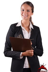 Beautiful business human resources woman makes evaluation and checklist test