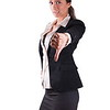 Doubtfull unsure uncertain corporate woman giving thumbs down