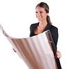 Successfull real estate agent in black jacket holding plans blueprints