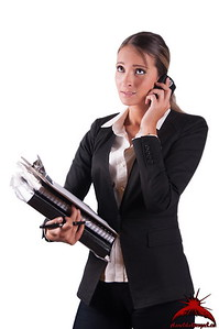 Overloaded tired corporate workaholic woman holding phone and files