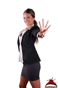 Successfull sexy corporate woman in black jacket smiling number 4