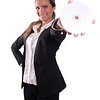 Successfull sexy corporate woman smiling showing CD DVD ROM