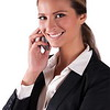 Successfull corporate woman in black jacket holding cell phone smiling