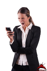 Angry woman shouting at mobile phone telecommunication network failure down