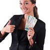 Successfull corporate woman in black jacket showing canadian cash 20$