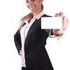 Successfull sexy corporate woman in black jacket giving business card