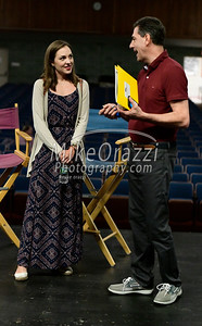 7/11/2019 Mike Orazzi | Staff Mark Mazzarella, director and founder of Revolutionary Youth Theatre talks with Broadway and film actress Laura Osnes while at St. Paul Catholic High School on Thursday.