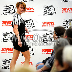 3/2/2011 Mike Orazzi   Staff  Jessica Imbriglio, owner of Brush Salon, East Long meadow, Mass, during the fashion show at the Savers as part of the store's grand opening in the Bristol Plaza on Wednesday night.