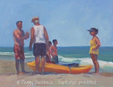 The Yellow Kayak, Outer Banks, 11x14, oil on panel