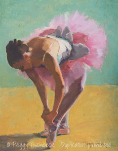 Ballerina, Preparing for the Dance, 11x14, oil linen panel