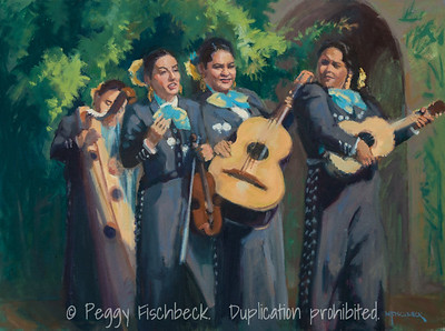 Mariachis (Oct 2013 performance at Women's Museum of CA), 16x20, oil on canvas - donated to Women's Museum of CA fundraiser