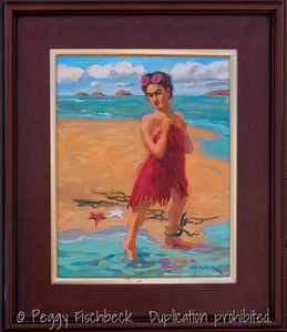 Frida at the Beach, 11x14, oil on canvas  N/A
