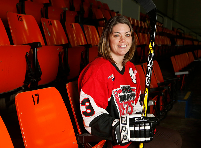 Sylvia (Bryson) Dooley poses for a photo in Ottawa on Monday, December19, 2016 after reaching an agreement in her complaint with the Human Rights Commission about the University of New Brunswick's decision to disband the varsity women's hockey team. Photo by Patrick Doyle