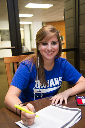 Marissa Pryor work on her Victorian Literature group project in Starbuck cafe.