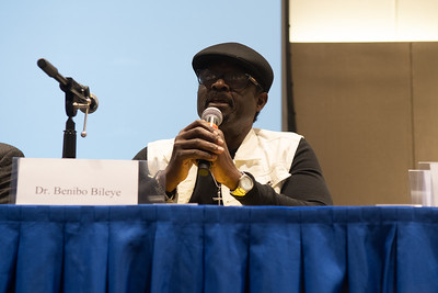 Dr. Bilaye Benibo answering questions at the International Symposium in the Anchor Ballroom.