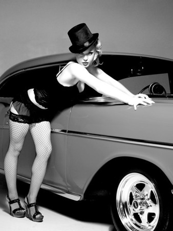 Emily  looking spectacular in some burlesque styled lingerie posing with a 1957 Chevy. With the burlesque 50s - 60s pin-up theme I had to try a few B&W conversions.