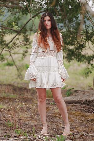 bohemian lace dress in trees