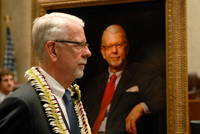 Former Chief Judge of the Northern District in California, Vaughn Walker shown at his retirement ceremony with his painted portrait that will adorn the courtroom.